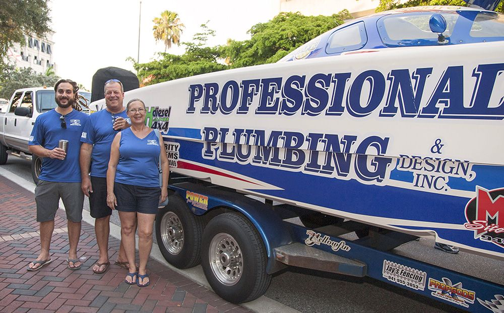 Professional Plumbing & Design team members at the 2019 Grand Prix Block Party.