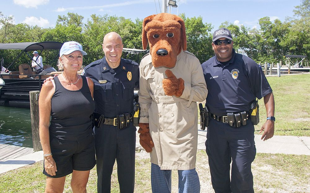 McGruff the Crime Dog and some of Sarasota's finest at the Friendliest Catch Tournament.