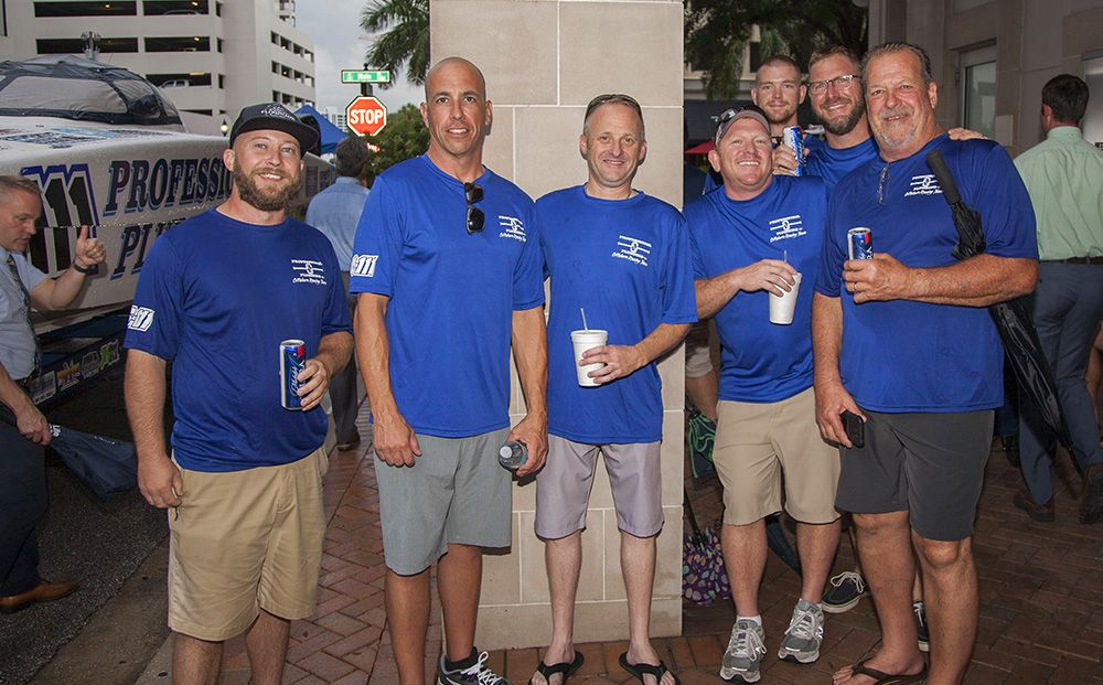 Professional Plumbing & Design team members at the 2019 Grand Prix Bock Party.