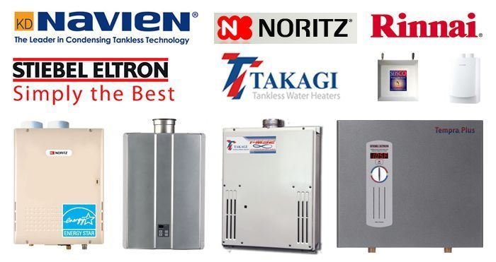 Professional Plumbing & Design offers Tankless Gas & Electric Water Heaters from top manufacturers like Navien, Noritz, Rinnai, Steibel Eltron and Takagi.